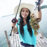 thai street fishing plus girl catch fish