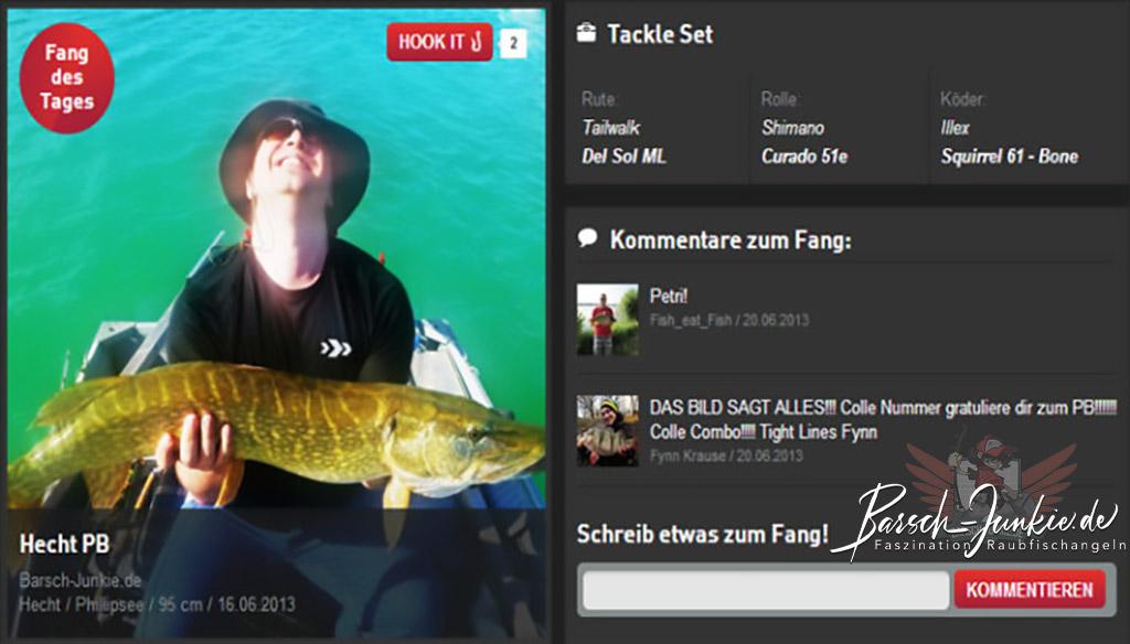 95cm Hecht beim Barschangeln und damit Fang des Tages bei Angeln.de